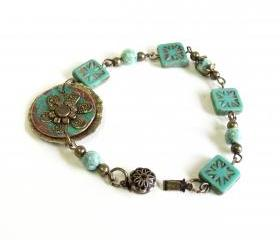 Mint Green Picasso Czech glass beaded bracelet with mint green fossil beads