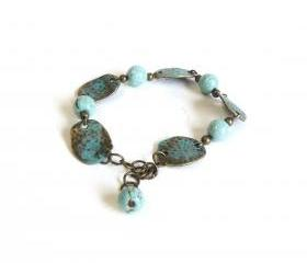 Patina bracelet turquoise beaded bracelet with hammered antique brass links