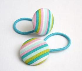 Aqua Stripes Ponytail Buttons
