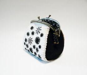 Felt coin purse in black white colors with hand embroidery