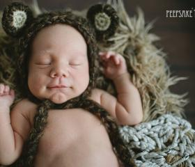 Baby Boy Bear Hat - Halloween Costume - Newborn Photography Prop - Brown Baby Bonnet