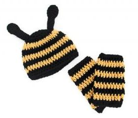 Baby Bee Halloween Costume - Newborn Hat and Legwarmers