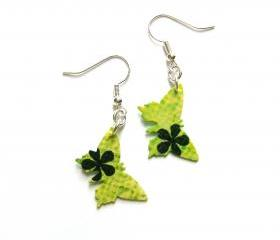 Green paper butterflies earrings - vintage style