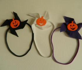 Halloween Pumpkinn Pinwheel Headband - Choose 1