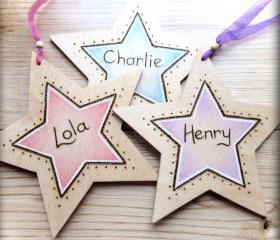 Wooden Personalised Stars - pyrographed