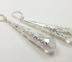 Long Silver Wedding Earrings Clear Victorian Style Jewelry Wedding Earrings