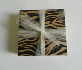 Brown and Black Zebra Print Tile Coasters