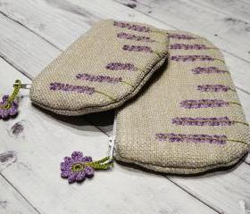 Embroidery purse Lavender Flowers Blossoms Purple Wallet Pouch Clouth Purse