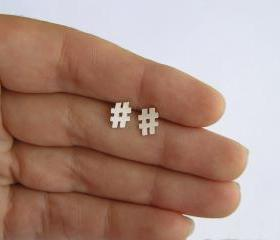 Sterling Silver Hashtag Earrings, Twitter Earrings, hash symbol studs