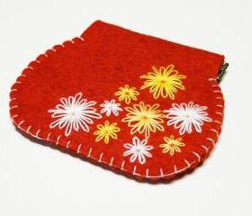 Flex frame purse Red felt Purse Flowers embroidery flex purse