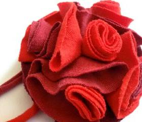 Blazing red recycled T-shirt fabric flower pin brooch