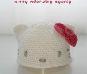 Hello Kitty Adorable Beanie Crochet PATTERN, SYMBOL DIAGRAM (pdf)