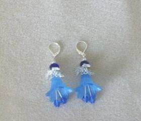 Earrings Blue Trumpet Flowers with Silver Findings