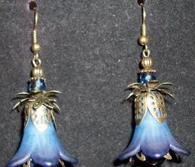 Earrings Midnight Blue Trumpet Flowers with Bronze Findings
