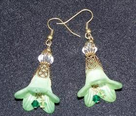 Earrings Green Trumpet Flowers with Bronze Findings
