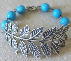 Antiqued Leaf Bracelet with 8 mm Turquoise Beads