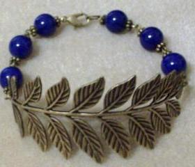 Bracelet Bronze Antiqued Leaf with Lapis Lazuli Gemstone Beads Blue Round 10 mm AAA Smooth Drilled