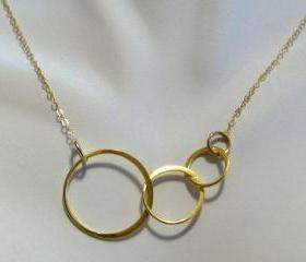 Delicate Gold Interlocking Triple Circles Necklace