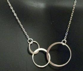 Delicate Sterling Silver Interlocking Triple Circles Necklace