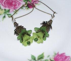 Earrings Green Trumpet Flowers with Green Lily Flower and Bronze Findings