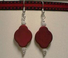 Silver Plated Ball and Red Bead Earrings