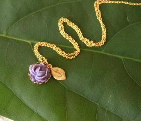 Purple Rose Initial Personalized Necklace (Many colors available)