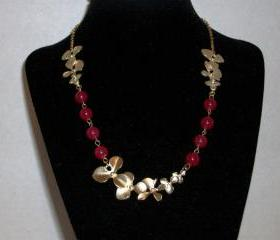 OOAK Necklace Matte Gold Flower and Hibiscus Red Jade Beads