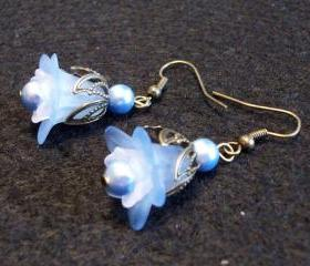 Blue Daisy and White Bell with Blue Swarovski Pearl Earrings
