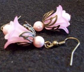 Pink Daisy and White Bell with Pink Swarovski Pearl Earrings