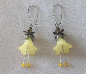Earrings Yellow Trumpet Flowers with Bronze Findings