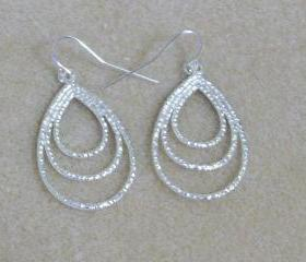 Sterling Silver Triple Teardrop Earrings