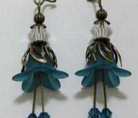 Teal Hand Dyed Lily Frosted Flower Earrings