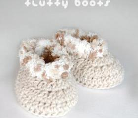 Khaki Fluffy Baby Boots Crochet SYMBOL PATTERN (pdf)