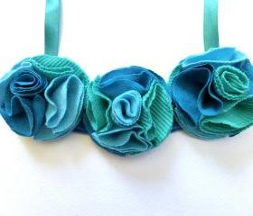 Aqua green and blue recycled T-shirt fabric flower statement necklace