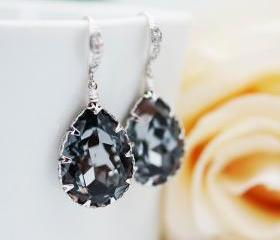 Bridal Earrings Bridesmaid Earrings cubic zirconia ear wires and Silver Night Swarovski Crystal Tear drops