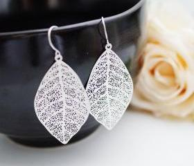 Modern Jewelry Modern Earrings Matte rodium plated Leaf Earrings . For Her. Gift for Her . Gift Under 20
