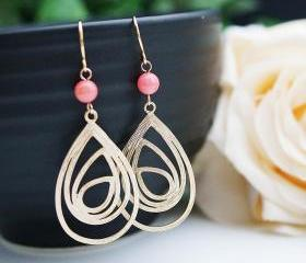 Modern Jewelry Modern Earrings Matte gold plated charm with bamboo coral beads Earrings . For Her. Gift for Her . Gift Under 20