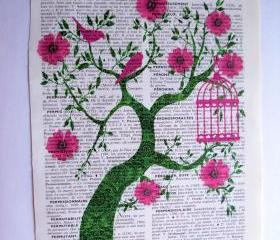 Vintage Dictionary Art Print Pink and Green Tree of Life Original Artwork