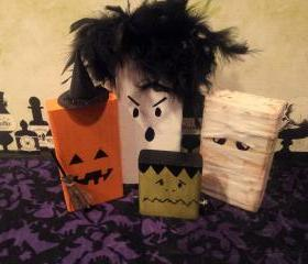 Halloween Decor Frankie and Friends Wooden 2x4 Blocks.