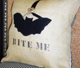 Burlap Decorative Throw Pillow Cover with Black Eco Friendly Felt Bat Applique and Bite Me
