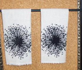 Taupe Natural Cotton hand towel or tea towel with black graphic dandelion sun burst screen print