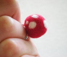 Red Polka Dot Ring - Needle Felted Red & White