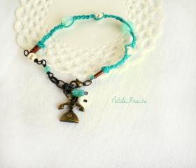 Call me, Friendship bracelet with vintage telephone charm, aqua green and mint