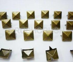 100pcs 1/2 inch brass pyramid Studs Metal Punk ROCK Biker Spikes spots Heavy Duty DIY S213