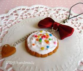 Kawaii cute gingerbread frosting cookie bowknot cell phone strap charm