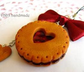 Kawaii cute gingerbread cookie cherry jam bowknot cell phone strap charm
