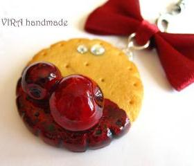 Kawaii cute butter cookie cherry jam bowknot cell phone strap charm