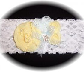 White, Pale Yellow & Light Blue Lace Garter 501