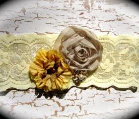 Vintage Shades of Brown and Gold Lace Wedding Garter
