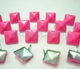 50pcs 1/2inches Pink Color PYRAMID Studs Punk rock Biker Spikes spots EMO S813